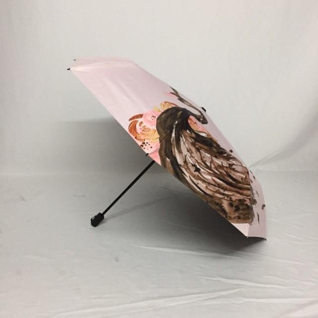 Umbrella factory custom 21 inch full version printing ultra light full shading black plastic tri-fold umbrella